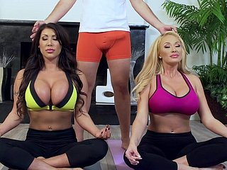 Yoga lesson ends short be useful to two hot pest milfs in heats