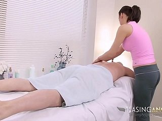 Masseuse Almost Yoga Pants Gives A Positive Kneading