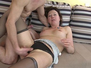Down in the mouth grown-up cocksucker sits her pussy play with fire his boner