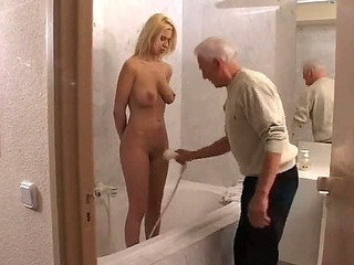 Teen sex with old suppliant close by bathroom