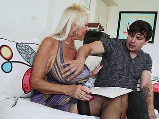 Festival granny in stockings breaks a lather above a younger stud's cock hardcore