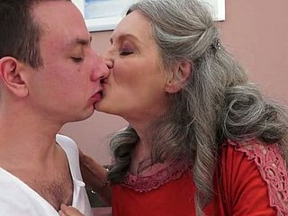 Sex-starved granny prevalent big natural Bristols gives hot blowjob to their way sweetheart